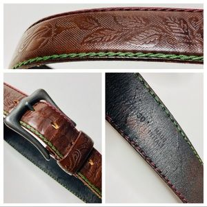 """Other - Leather Belt Embossed Stitched Italy 30"""" Brown New"""
